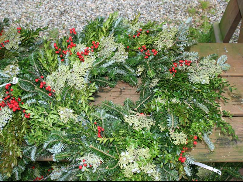 A handmade mixed wreath