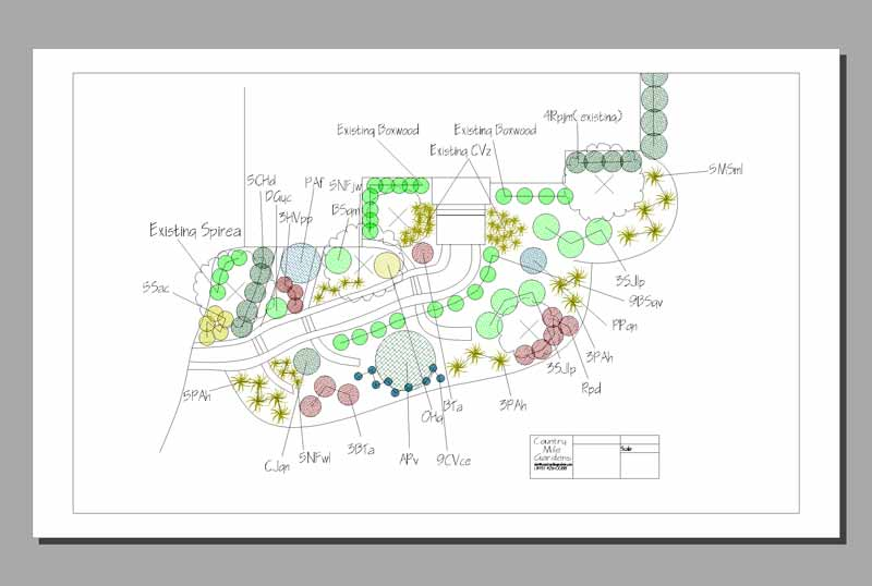 Landscape design of a foundation and walkway