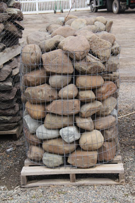 A Pallet of River Garden Boulders