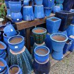 Blue ceramic pots assorted