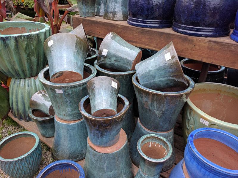 Teal glazed ceramic pot
