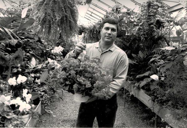 Tom displays greenhouse plants