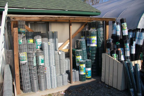 Rolls of different types of fencing.