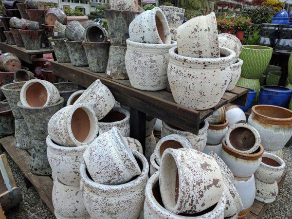 A rustic white ceramic pot