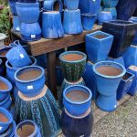 Blue ceramic pots assorted