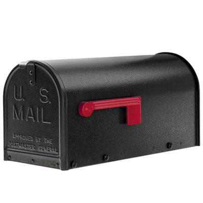 A black oversized Janzer Mailbox