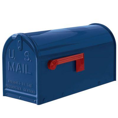 A blue oversized Janzer Mailbox