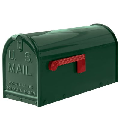 A green oversized Janzer Mailbox