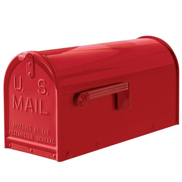 A red Janzer oversized mailbox.