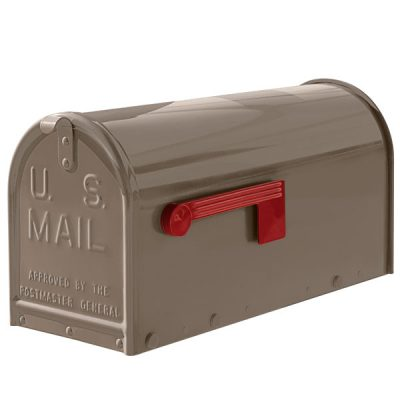 A taupe Janzer oversized mailbox.