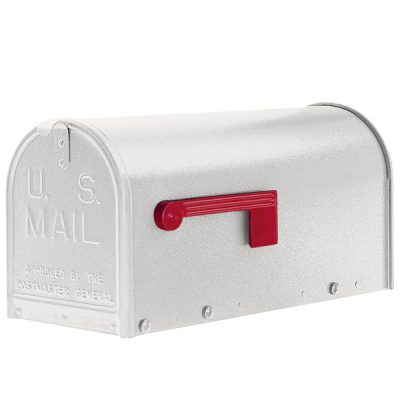 A white Janzer oversized mailbox.